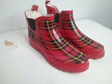 Star Bay Tartin Plaid Red and Black Rain Booties