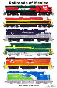 """Railroads of Mexico 11""""x17"""" Poster by Andy Fletcher signed"""