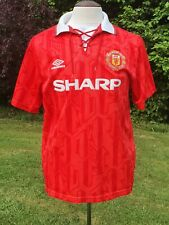 Vintage Manchester United 1992-1994 Home Football Shirt Umbro Lace Collar Large