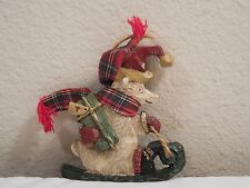 """Kurt S Alder Inc Resin Heart Polar Bear On Sled Christmas Ornament ~ 3 1/2"""" Tall"""