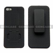 Secure Belt Clip Holster & Shell Case Kickstand Cover for Apple iPhone 5 5S SE
