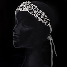 Ivory Ribbon Heart Headband with Rhinestones Prom Bridal Headband