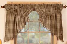 CEDAR RIDGE Prairie Swag Set Plaid Cotton Rustic Lodge Cabin Green/Tan VHC