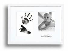 Personalized Hand Print Footprint Kit Baby Shower Gift Christening White Frame