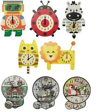 Silent Clock Novelty Pendulum Wall Clock MDF Cartoon Kid's Bedroom Home Decor