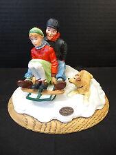 Norman Rockwell Gallery Figurine ~ Puppy Love ~ Sleddin ~ Nib ~ 82194