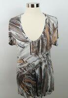 BCBG Max Azria Womens Rayon Blend SS V Neck Neutrals Abstract T Shirt Blouse S