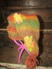 Vegan psy tribal hippy pixie hat Autumn leaf fall hand made in Wales