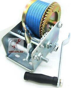 3500lbs Polyester Strap 2 Gear Hand Winch Hand Crank Gear Winch ATV Boat Trailer