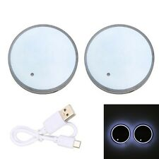 2pc Cup Holder Bottom Pad White LED Light Cover Trim Atmosphere Lamp For All car