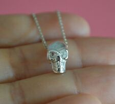 925 Sterling Silver Small Shinny Skull Skeleton Gothic Charm Necklace *NEW*