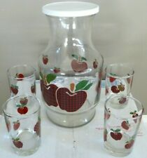 Vintage Idi Apple Juice Glass Carafe Pitcher with 4 matching glasses Vgc