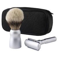Merkur Razor Shaving Set Leather Zipper FUTUR razor Shaing Brush and 10 Blades