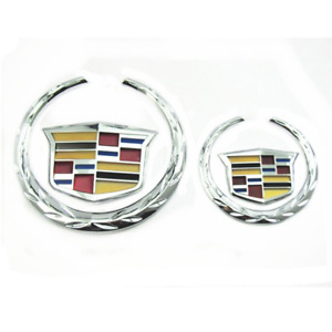 Chrome Cadillac Logo Front Grille Rear Trunk Lid Emblem for XTS CTS Escalade