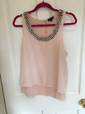 Topshop Blush Beaded Open Back Top, Size 10, WORN ONCE