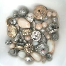 *Vintage* 66g Glass, Metal, Acrylic Unusual Antiqued Bead Mix