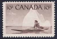 Canada #351(1) 1955 10 cent ESKIMO HUNTER - INUK & KAYAK  MNH