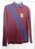 Polo Ralph Lauren Knit Shirt Rugby L/S RARE PRL Logo Custom Fit Wine Blue M VTG