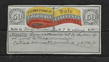 COLOMBIA 1883 INSURED LETTER COVER 50 CENTS SC:G7 (S687)