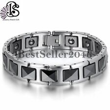 "Tungsten Carbide Black Ceramic Link Health Energy Men Bracelet 7.8"" with Magnets"