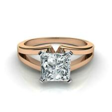 GORGEOUS 2.50 CT G SI2 PRINCESS CUT DIAMOND SOLITAIRE RING 14 K RED ROSE GOLD