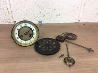 Antique French Mantle Clock Movement, Face, Pendulum Etc. Japy Freres