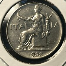 1922 ITALY ONE LIRA  HIGH GRADE COIN