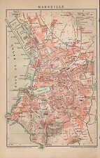 Landkarte city map 1898: Stadtplan MARSEILLE. Süd-Frankreich france Europa