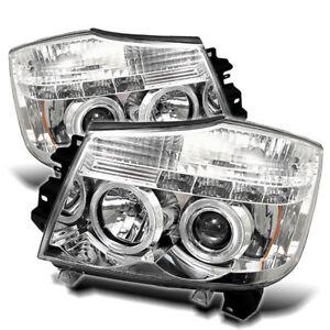 Fit Nissan 04-15 Titan / 04-07 Armada Chrome Dual Halo LED Projector Headlights