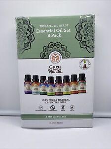 Gurunanda Essential Oils Set Of 8 Therapeutic Grade Pure .5ml