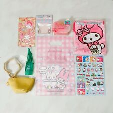 Sanrio Melody 8pc Set~ Silicone Puff, Coin Bag, Face Soap, Shop Bag, Stickers
