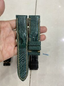 GREEN GENUINE OSTRICH  LEATHER SKIN WATCH STRAP BAND 22mm (MAKE YOUR REQUEST)