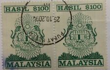 Malaysia Used Revenue Stamps - 2 pcs $100 Stamp (Old Design Big Size)