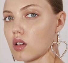 Zara Style Love Heart Rhinestone Drop Earrings ZARA STYLE  Gold Tint Rhinestone