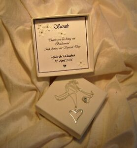 Bridesmaid gift jewellery 925 Sterling silver heart pendant Personalised box