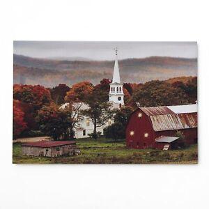 Farmhouse Church by the Farm Lighted Wall Art Canvas Picture