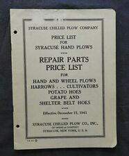 1942 John Deere Syracuse Refrigerati Fenditoia Prezzo Lista Manuale Plows Patate