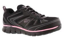 Zapatos Trabajo Negro Rosa Skechers mujeres Memoria Espuma antideslizante puntera de aleación 77207