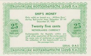"""Pays-Bas 25 Cents Schiffsgeld Pays-Bas East Indies Rotterdam Lloyd """" Willem"""