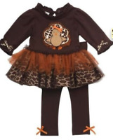 Rare Editions Girls Thanksgiving outfit Turkey Leggings SIZE 4 5 6 6x you choose