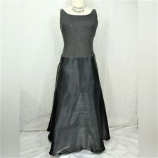 Cachet Evening Gown Dress Size M Black Silver Gray Pewter Metallic Sleeveless