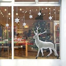 Festive Sticker Decal Lovely White Christmas Deer Wall Window Home Decor Display