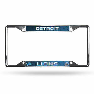Detroit Lions NFL Chrome EZ View 4 corner License Plate Frame