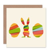 Bunny Egg Abstract Easter Rabbit Blank Greeting Card With Envelope