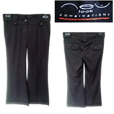 NEW LOOK UK 8 WOMEN`S BLACK STRIPED FLARED BOOTCUT TROUSERS BUSINESS OFFICE #19