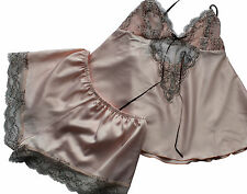 REDUCED Luxury 2 Piece Camisole Set Satin Peach with White Lace Ladies Size 8-10