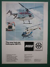 5/1982 PUB MBB KAWASAKI  TWIN JET HELICOPTER BK 117 HUBSCHRAUBER ORIGINAL AD