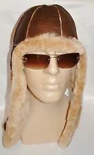 NEW! mens Sheepskin Bomber - Aviator Hat and Scarf in one Real Leather size L