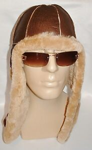 NEW! Sheepskin Bomber - Aviator Hat and Scarf in one Real Leather unisex Medium