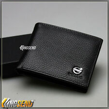 deluxe VOLVO Genuine 100% Cow Leather Bifold Wallet Men Slim Purse Car Notecase